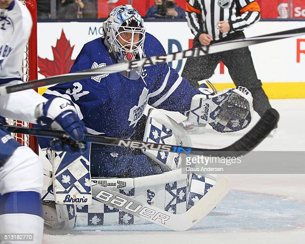 Garret Sparks of the Toronto Maple Leafs gets set to face a shot against the Tampa Bay Lightning during an NHL game at the Air Canada Centre on...