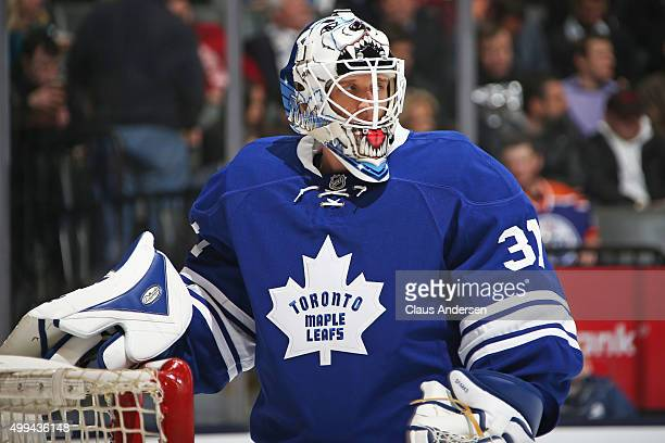Garret Sparks of the Toronto Maple Leafs gets set to face the Edmonton Oilers in an NHL game at Air Canada Centre on November 30 2015 in Toronto...