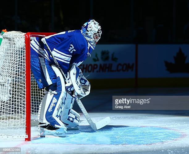 Garret Sparks of the Toronto Maple Leafs is introduced prior to the game against the Edmonton Oilers on November 30 2015 at Air Canada Centre in...