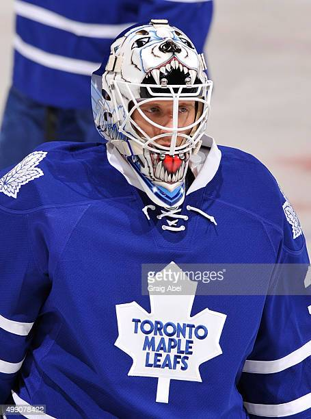 Garret Sparks of the Toronto Maple Leafs looks on during warm up prior to NHL game action against the Washington Capitals November 28 2015 at Air...