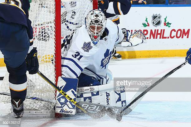 Garret Sparks of the Toronto Maple Leafs makes a save against the St Louis Blues at the Scottrade Center on December 5 2015 in St Louis Missouri