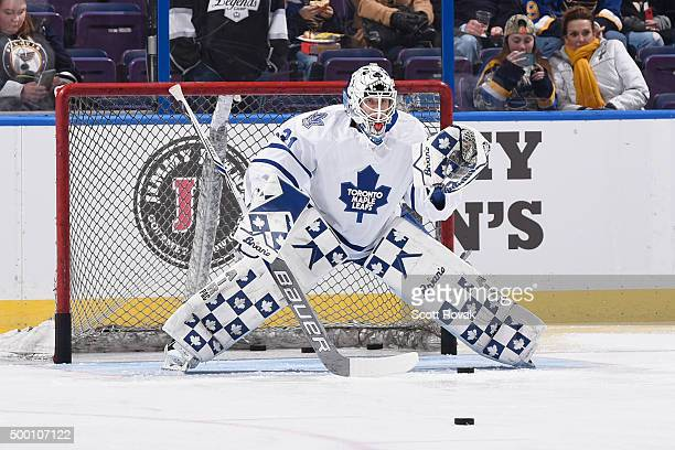 Garret Sparks of the Toronto Maple Leafs participates in warm up prior to playing against the St Louis Blues at the Scottrade Center on December 5...