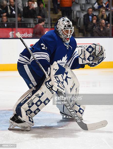 Garret Sparks of the Toronto Maple Leafs prepares for a shot against the Edmonton Oilers during game action on November 30 2015 at Air Canada Centre...