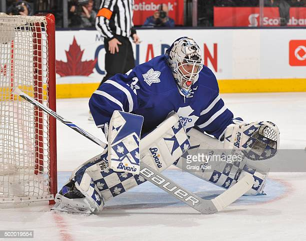 Garret Sparks of the Toronto Maple Leafs prepares for a shot against the San Jose Sharks during game action on December 17 2015 at Air Canada Centre...
