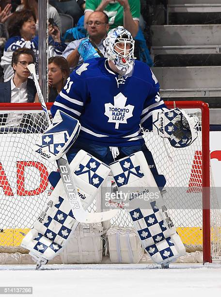 Garret Sparks of the Toronto Maple Leafs prepares for a shot against the Minnesota Wild during game action on March 3 2016 at Air Canada Centre in...