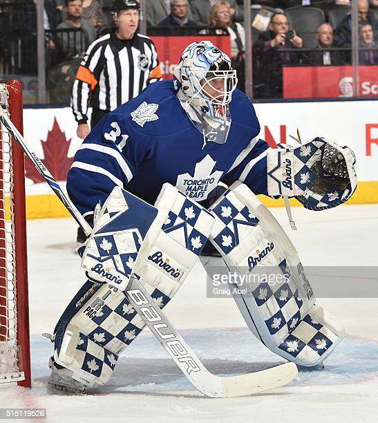 Garret Sparks of the Toronto Maple Leafs prepares for a shot against the New York Islanders during game action on March 9 2016 at Air Canada Centre...