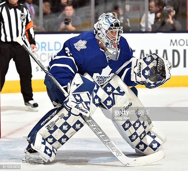 Garret Sparks of the Toronto Maple Leafs prepares for a shot against the Buffalo Sabres during game action on March 19 2016 at Air Canada Centre in...