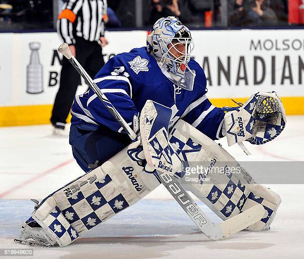 Garret Sparks of the Toronto Maple Leafs prepares for a shot against the Columbus Blue Jackets during game action on April 6 2016 at Air Canada...