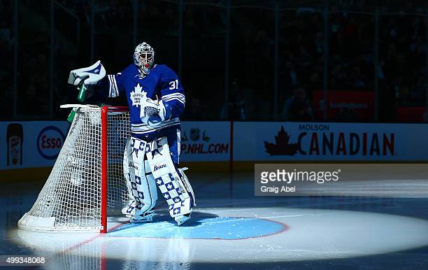 Garret Sparks of the Toronto Maple Leafs prepares for action against the Edmonton Oilers during game action on November 30 2015 at Air Canada Centre...