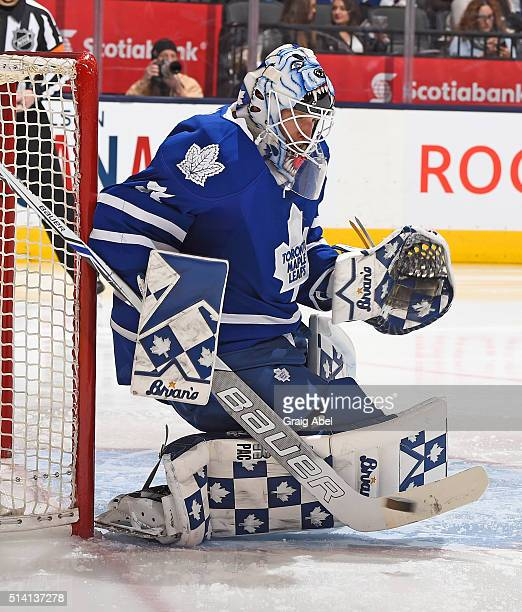 Garret Sparks of the Toronto Maple Leafs stops a shot against the Minnesota Wild during game action on March 3 2016 at Air Canada Centre in Toronto...