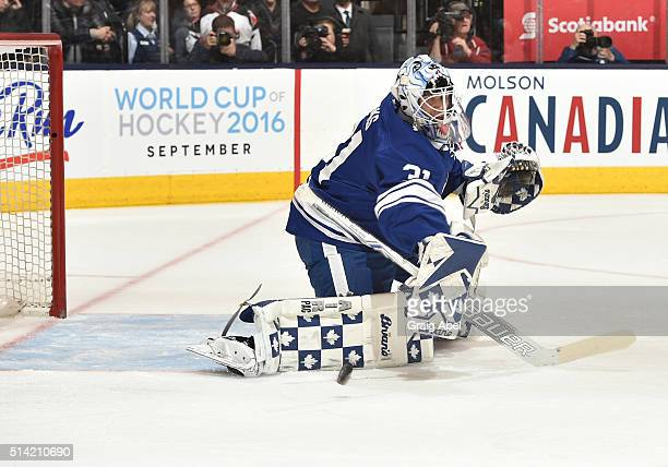 Garret Sparks of the Toronto Maple Leafs stops a shot during game action on March 7 2016 at Air Canada Centre in Toronto Ontario Canada