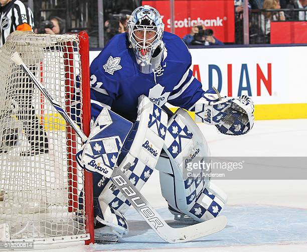 Garret Sparks of the Toronto Maple Leafs watches the corner against the Tampa Bay Lightning during an NHL game at the Air Canada Centre on February...