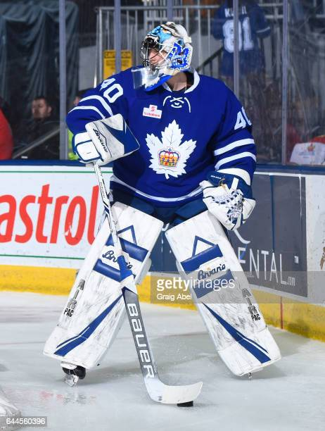 Garret Sparks of the Toronto Marlies controls the puck against the Syracuse Crunch during AHL game action on February 22 2017 at Ricoh Coliseum in...