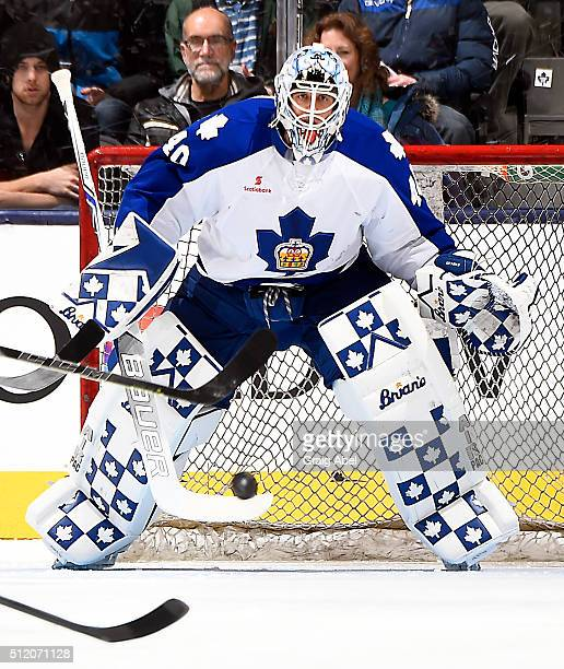 Garret Sparks of the Toronto Marlies keeps his eye on the puck against the Portland Pirates during AHL game action on February 20 2016 at Air Canada...