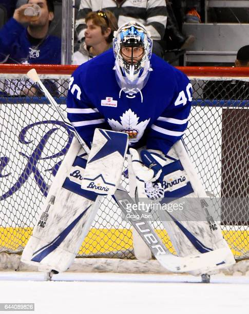Garret Sparks of the Toronto Marlies prepares for a shot against the Binghamton Senators on February 20 2017 at Air Canada Centre in Toronto Ontario...