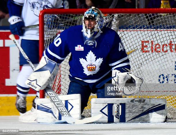 Garret Sparks of the Toronto Marlies prepares for a shot against the Syracuse Crunch during AHL game action on February 22 2017 at Ricoh Coliseum in...