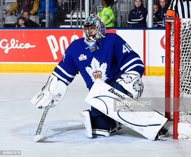 Garret Sparks of the Toronto Marlies prepares for a shot against the Syracuse Crunch on March 26 2017 at Ricoh Coliseum in Toronto Ontario Canada