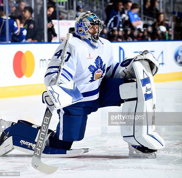 Garret Sparks of the Toronto Marlies skates in warmup prior to a game against the Hartford Wolf Pack on December 3 2016 at Ricoh Coliseum in Toronto...