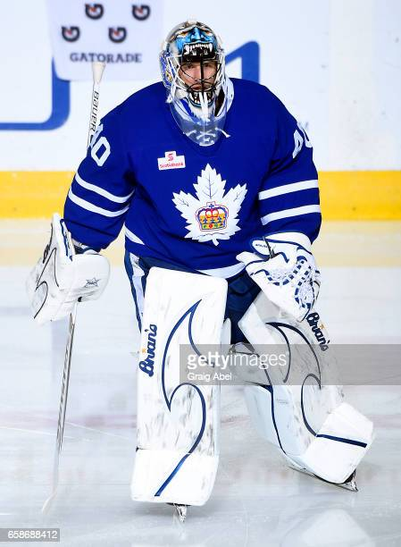 Garret Sparks of the Toronto Marlies skates in warmup prior to a game against the Syracuse Crunch on March 26 2017 at Ricoh Coliseum in Toronto...