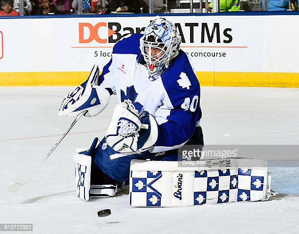 Garret Sparks of the Toronto Marlies stops a shot against the Binghamton Senators during AHL game action on February 24 2016 at Ricoh Coliseum in...