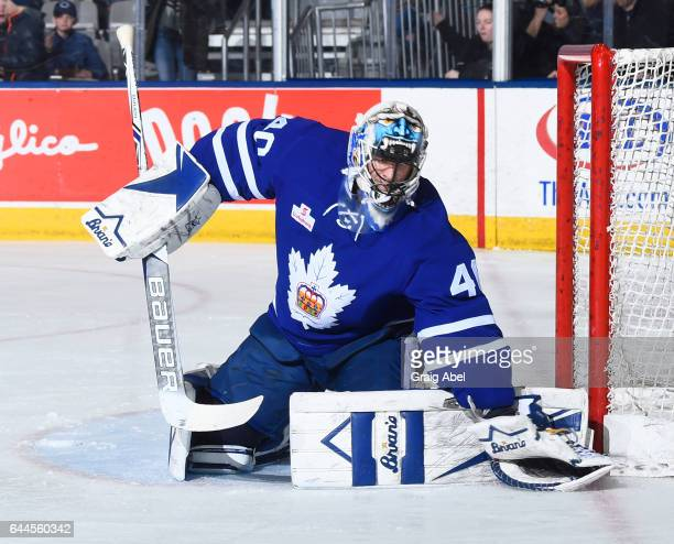 Garret Sparks of the Toronto Marlies stops a shot against the Syracuse Crunch during AHL game action on February 22 2017 at Ricoh Coliseum in Toronto...