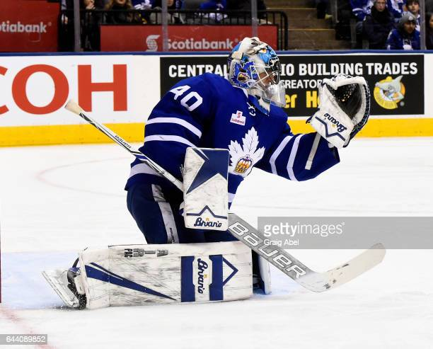 Garret Sparks of the Toronto Marlies stops a shot against the Binghamton Senators on February 20 2017 at Air Canada Centre in Toronto Ontario Canada...