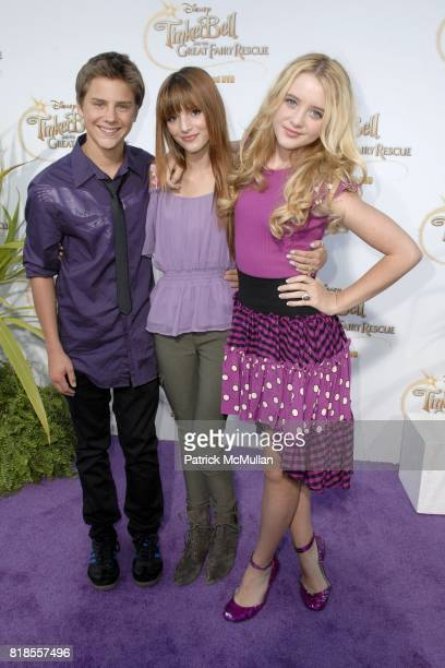 Garrett Backstrom Bella Throne and Kathryn Newton attend Picnic In The Park For 'Tinker Bell And The Great Fairy Rescue' at La Cienega Park on August...