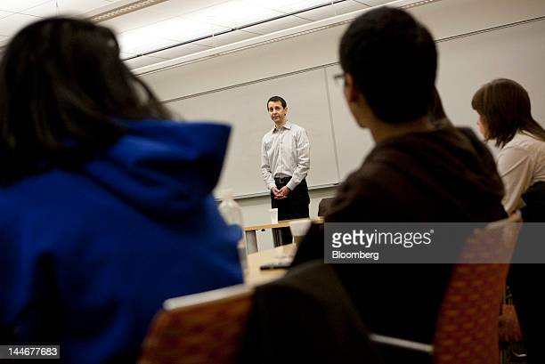 Garrett Bauer a former stock trader speaks to a group of New York University students on the dangers of insider trading in New York US on Wednesday...