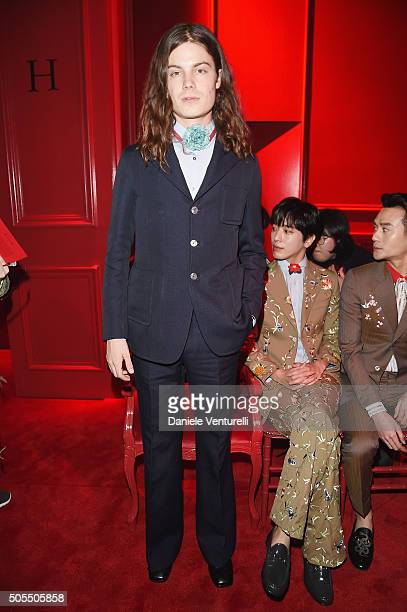 Garrett Borns attends the Gucci show during Milan Men's Fashion Week Fall/Winter 2016/17 on January 18 2016 in Milan Italy