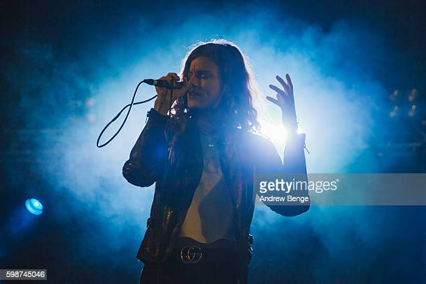 Garrett Borns of Borns performs on the Festival Republic Stage during day 1 of Leeds Festival 2016 at Bramham Park on August 26 2016 in Leeds England