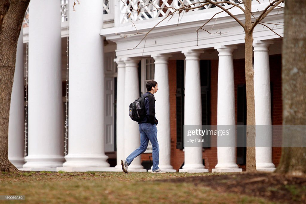 Garrett Durig, a fourth year student at the University of Virginia, walks across campus on December 6, 2014 in Charlottesville, Virginia. On Friday, Rolling Stone magazine issued an apology for discrepencies that were published in an article regarding the alleged gang rape of a University of Virginia student by members of the Phi Kappa Psi fraternity.