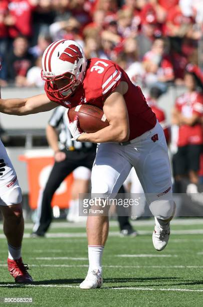 Garrett Groshek of the Wisconsin Badgers runs with the ball against the Maryland Terrapins at Camp Randall Stadium on October 21 2017 in Madison...