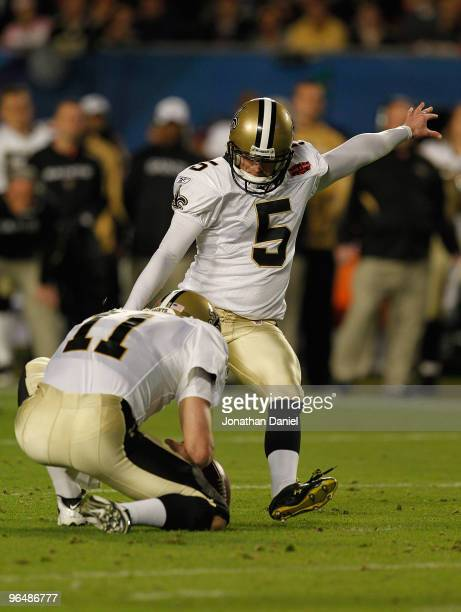 Garrett Hartley of the New Orleans Saints kicks a field goal against the Indianapolis Colts during Super Bowl XLIV on February 7 2010 at Sun Life...