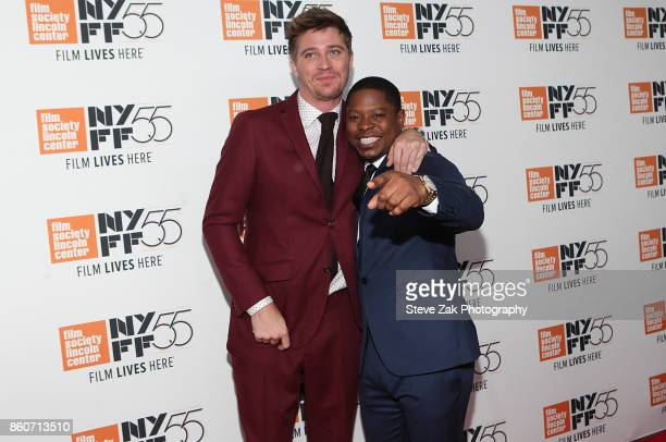 Garrett Hedlund and Jason Mitchell attend the 'Mudbound' screening during the 55th New York Film Festival at Alice Tully Hall on October 12 2017 in...