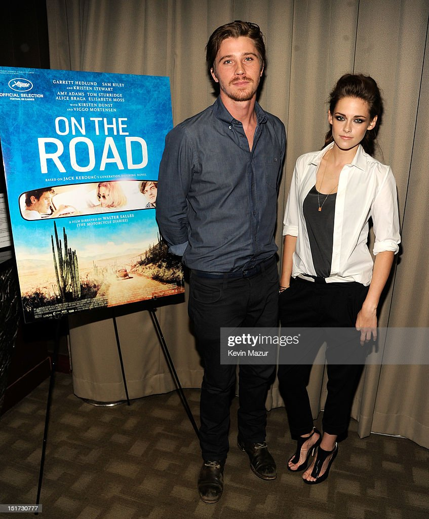 <a gi-track='captionPersonalityLinkClicked' href=/galleries/search?phrase=Garrett+Hedlund&family=editorial&specificpeople=2290407 ng-click='$event.stopPropagation()'>Garrett Hedlund</a> and <a gi-track='captionPersonalityLinkClicked' href=/galleries/search?phrase=Kristen+Stewart&family=editorial&specificpeople=2166264 ng-click='$event.stopPropagation()'>Kristen Stewart</a> attend 'On The Road' New York Screening at Disney Park Avenue on September 10, 2012 in New York City.