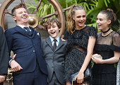 Garrett Hedlund Levi Miller Cara Delevingne and Rooney Mara attend the World Premiere of 'Pan' at Odeon Leicester Square on September 20 2015 in...
