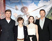Garrett Hedlund Levi Miller Rooney Mara and Hugh Jackman attend the 'Pan' New York Premiere Outside Arrivals at Ziegfeld Theater on October 4 2015 in...