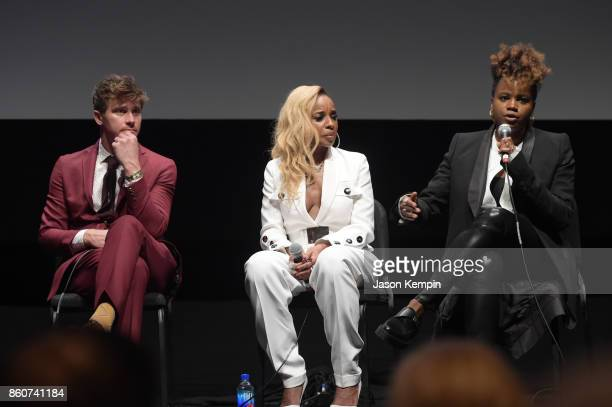 Garrett Hedlund Mary J Blige and Director Dee Rees speak onstage at the Q A following the screening of 'Mudbound' at the 55th New York Film Festival...