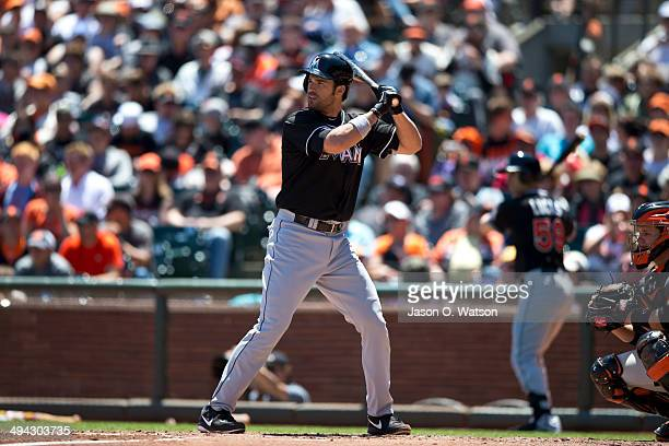 Garrett Jones of the Miami Marlins at bat against the San Francisco Giants during the second inning at ATT Park on May 18 2014 in San Francisco...