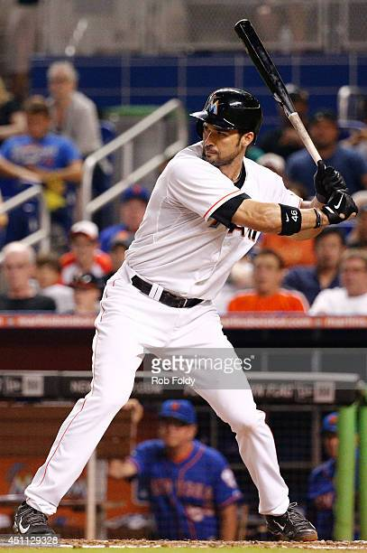 Garrett Jones of the Miami Marlins bats during the game against the New York Mets at Marlins Park on June 19 2014 in Miami Florida
