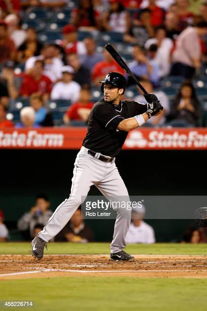 Garrett Jones of the Miami Marlins bats during the game against the Los Angeles Angels of Anaheim at Angel Stadium on August 26 2014 in Anaheim...