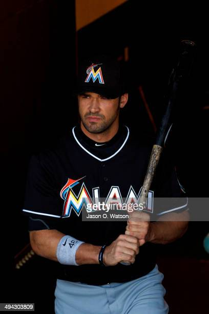 Garrett Jones of the Miami Marlins enters the dugout before the game against the San Francisco Giants at ATT Park on May 18 2014 in San Francisco...