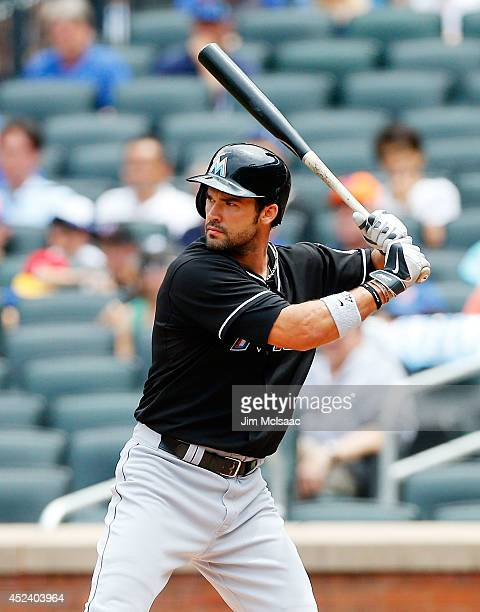 Garrett Jones of the Miami Marlins in action against the New York Mets at Citi Field on July 13 2014 in the Flushing neighborhood of the Queens...