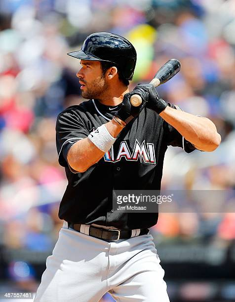Garrett Jones of the Miami Marlins in action against the New York Mets at Citi Field on April 27 2014 in the Flushing neighborhood of the Queens...