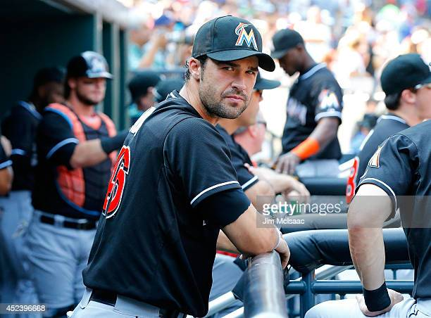 Garrett Jones of the Miami Marlins looks on against the New York Mets at Citi Field on July 12 2014 in the Flushing neighborhood of the Queens...