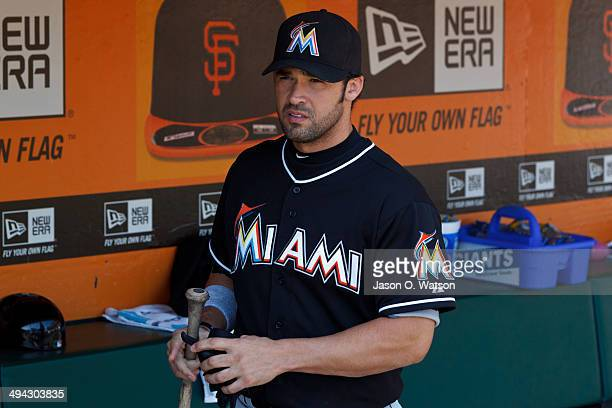 Garrett Jones of the Miami Marlins stands in the dugout before the game against the San Francisco Giants at ATT Park on May 18 2014 in San Francisco...