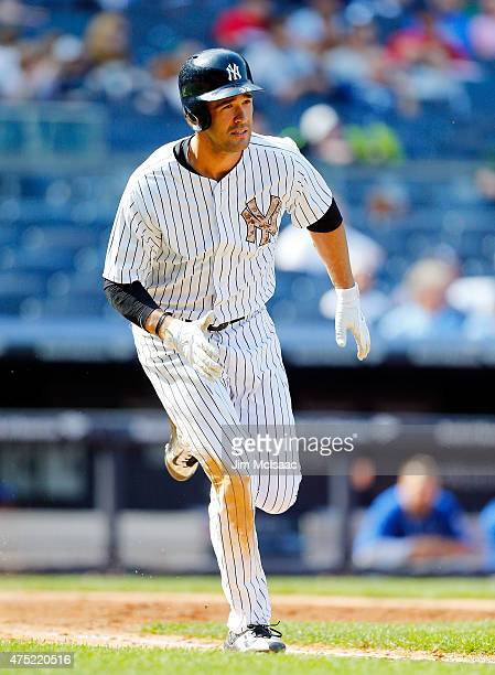 Garrett Jones of the New York Yankees in action against the Kansas City Royals at Yankee Stadium on May 25 2015 in the Bronx borough of New York City...