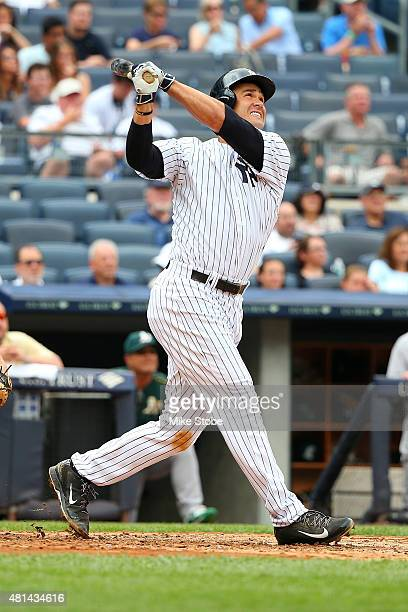 Garrett Jones of the New York Yankees in action against the Oakland Athletics at Yankee Stadium on July 9 2015 in the Bronx borough of New York City...