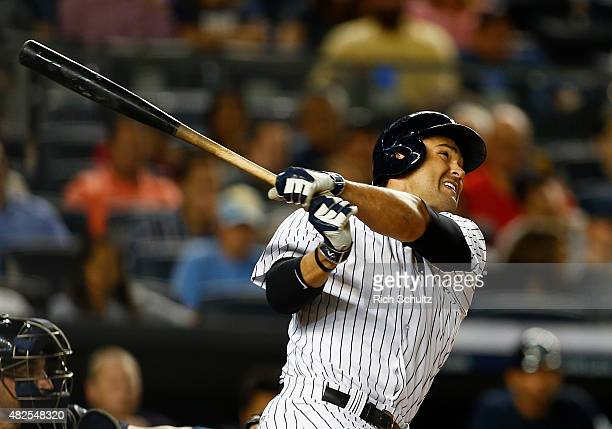 Garrett Jones of the New York Yankees in action against the Seattle Mariners during a MLB baseball game at Yankee Stadium on July 17 2015 in the...