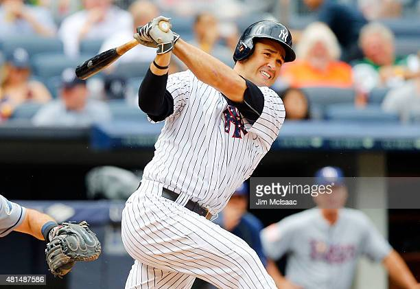 Garrett Jones of the New York Yankees in action against the Tampa Bay Rays at Yankee Stadium on July 4 2015 in the Bronx borough of New York City The...
